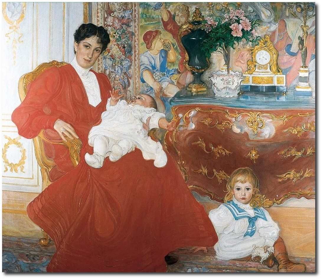 scandinavian-carl-larsson-mrs-dora-lamm-and-children