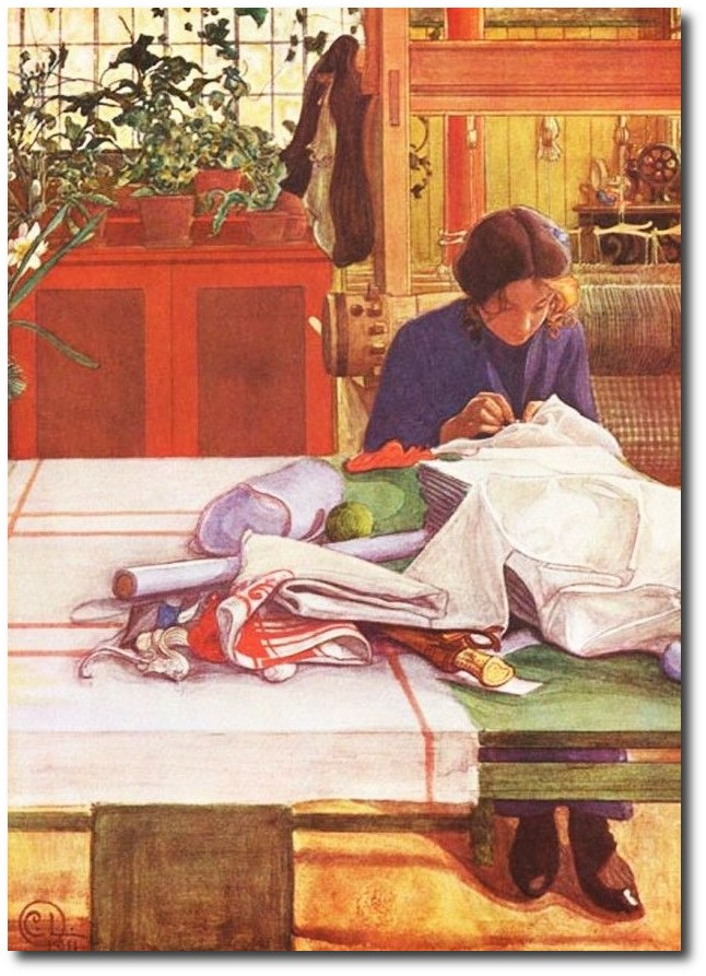 swedish-artist-carl-larssons-sewing-in-the-kitchen