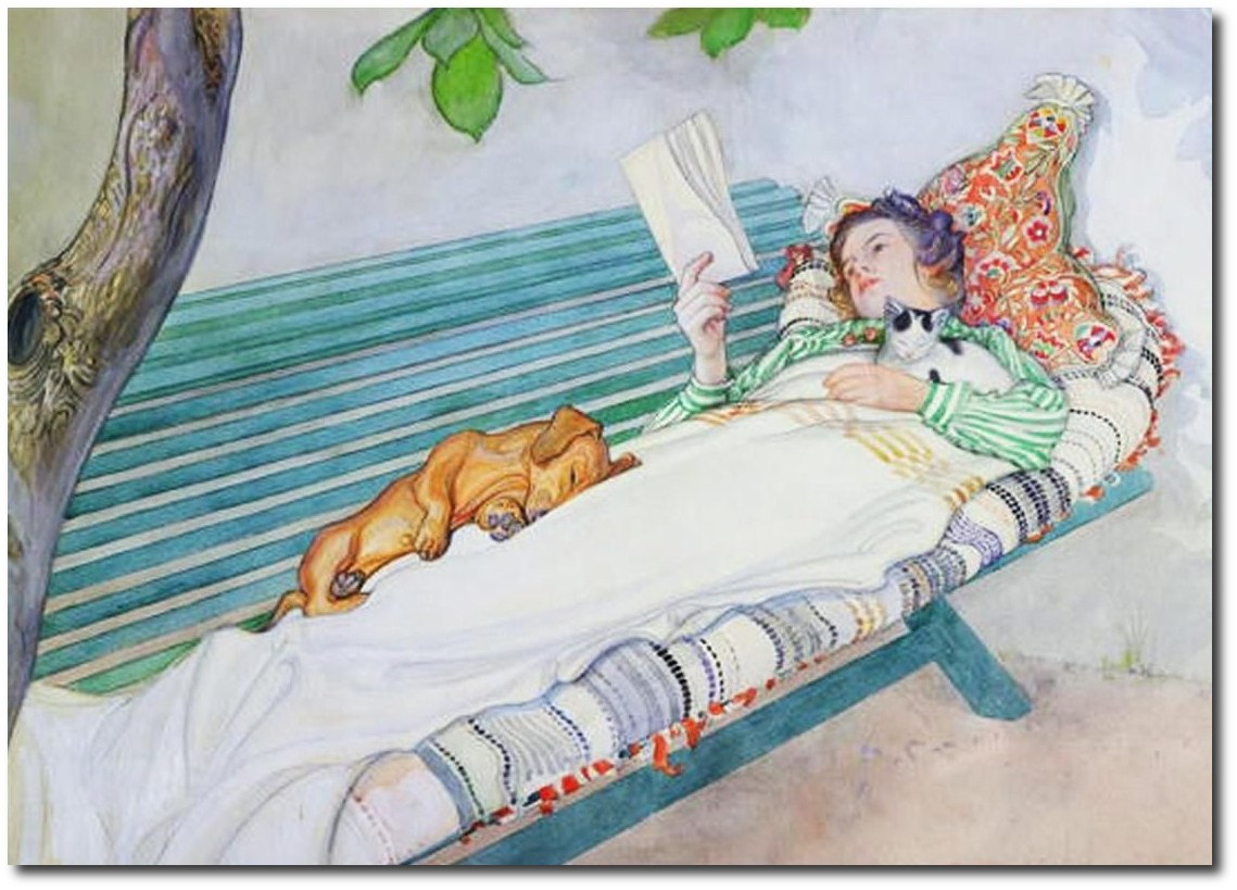 swedish-artist-carl-larssons-woman-reading-on-bench