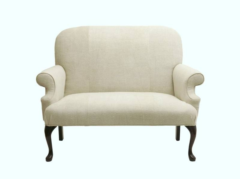 Antique Linen upholstered Couch From Antique Vintage