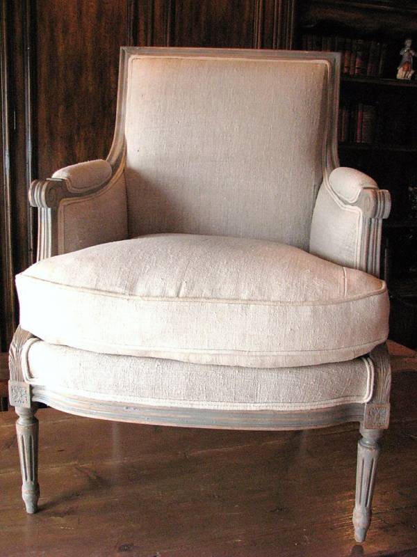 Antique Linen Upholstery French Chair By Antique Vintage