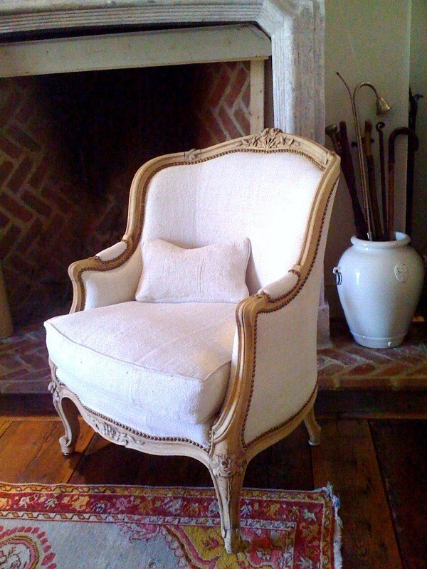 - Antique Linen Upholstery French Chairs