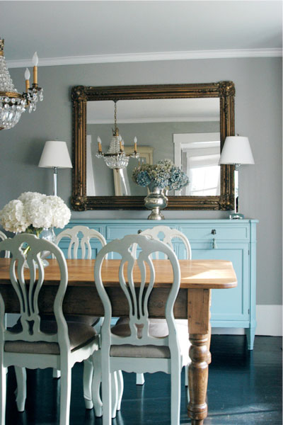 Swedish Furniture Decor Ideas Farmhouse Table Combined With Painted Cream Chairs And Turquoise Buffet
