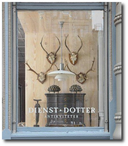 gorgeous window at Dienst plus sign Dotter Antikviteter nyc