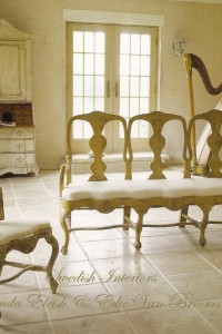 Swedish Furniture & Decor -Libby Holsten's Painted Rococo Bench