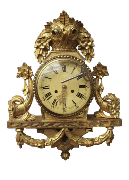 Swedish-Clock-BIG-Antique-LOUIS-XV-GILD-WOOD-CARTEL-WALL-CLOCK