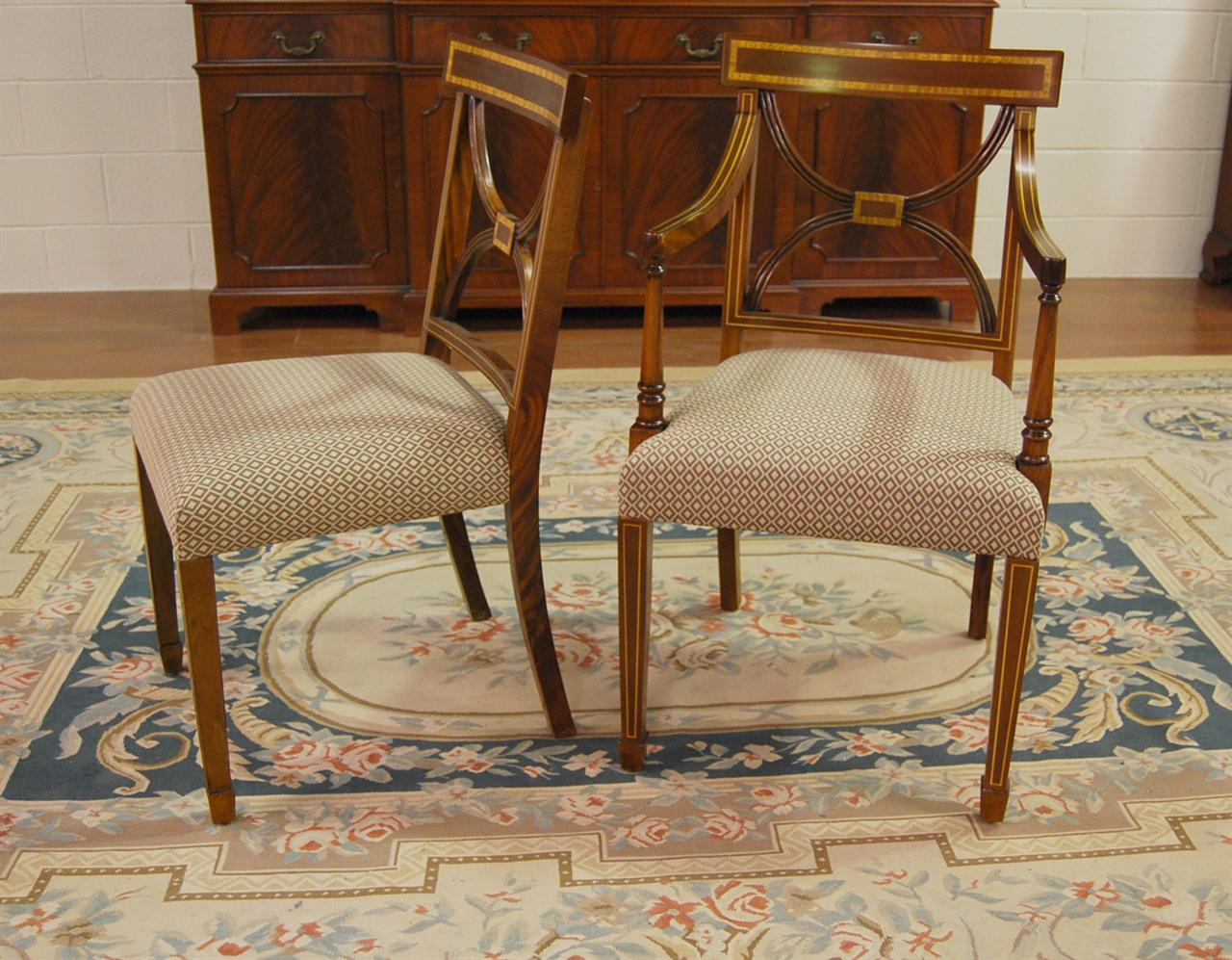 Mahogany dining chairs cross back dining room chair for Antique dining room tables