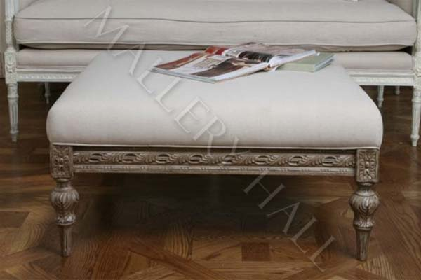 swedish furniture shabby le chic ottoman footstool natural carved rh theswedishfurniture com shabby chic footstool with storage large shabby chic footstool