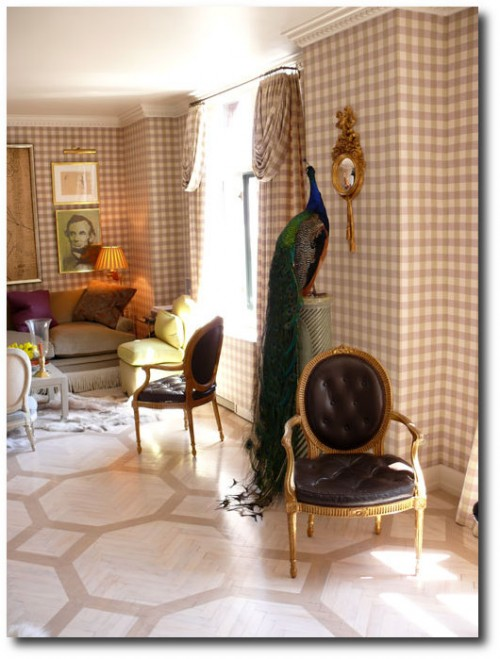 Swedish-Furniture-Inspiration-Jeffrey-Bilhubers-Manhattan-Apartment-with-Gingham-Walls-And-Stenciled-Limed-Wood-Floors