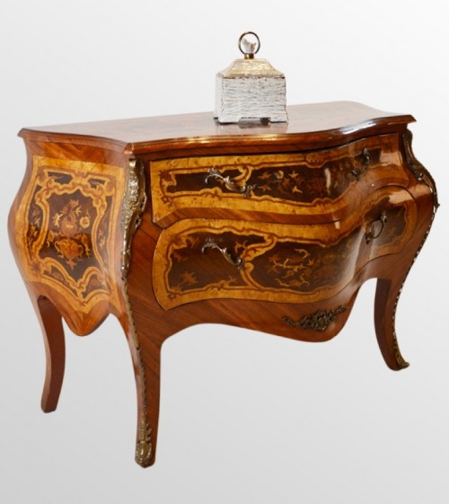 Chest of Drawers Bombe Commode Serpentine Front with Fine Marquetry Gilt Metal 500x561 French Bombe Chests
