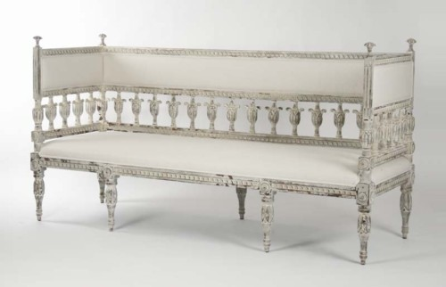 Swedish Inspired Sofa Bench In Cotton And Poplar From St Simons Beach  Rentals Gift Shop