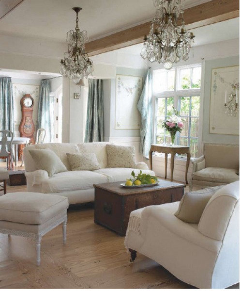 Swedish Decorating- Painted Gustavian Walls With Crystal Sconces