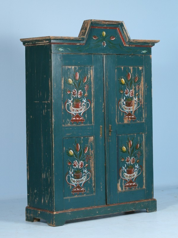 Swedish Hand Painted Blue Armoire Circa 1900 Scandinavian