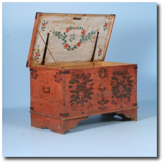Antique Original Red Hand Painted Trunk with Rosemaling Floral Motif From Scandinavian  Antiques Co - Danish Furniture