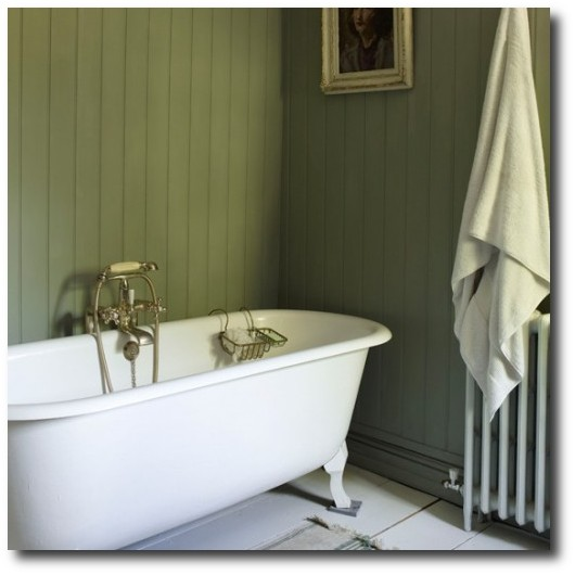 Get the swedish look by installing tongue and groove paneling for Bathroom wall cladding ideas