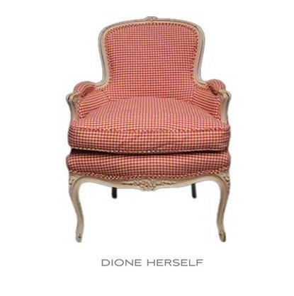 French Bergere Chair Swedish Check Fabric