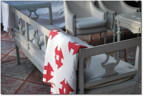 Detail of rare Gustavian bench from the late 1700s- thelilyhome.blogspot.com