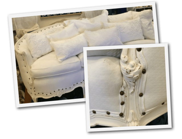 An upholstered sofa by Barbara Gray located at her shop -Etceteras 7503 Girard Ave La Jolla Ca.
