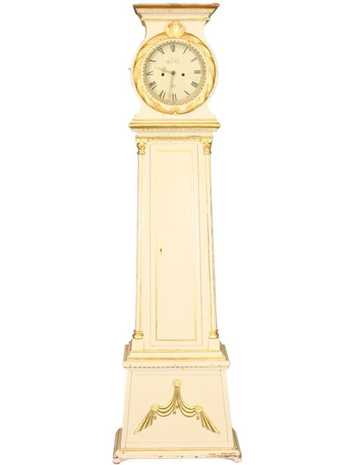 ANTIQUE SIGNED PAINTED GILDED SCANDINAVIAN DANISH LONG CASE CLOCK Antique Danish Floor Clocks