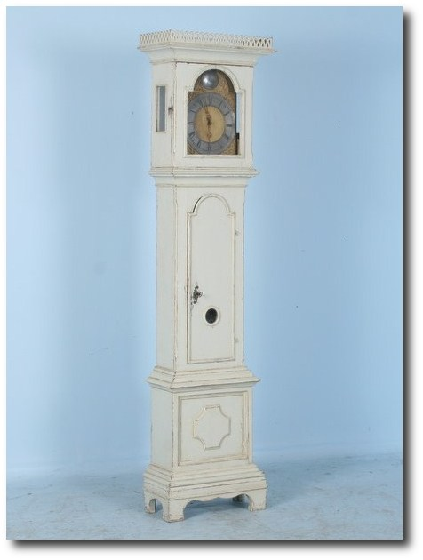 Antique Beautiful White Swedish Grandfather Clock c.1780 Commanding Presence -