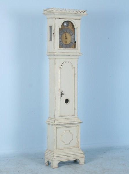 Antique Beautiful White Swedish Grandfather Clock C 1780
