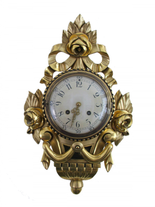 ROCOCO CARVED WOOD GILDED WALL CLOCK WESTERSTRAND MADE IN SWEDEN 500x666 Antique Danish Floor Clocks