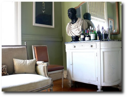 Sheila Bridges' Neoclassical Apartment Featuring Swedish Dressers Chairs ANd A Mora Clock PLUS French Louis XVI Furniture- Demilune WHite Chest