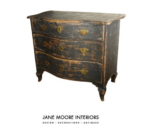 18th C. Swedish Rococo black painted chest with rare brass hardware  decorated with crown and cross, circa 1760. - Jane Moore, The Successful Woman Behind Jane Moore, Ltd. Which
