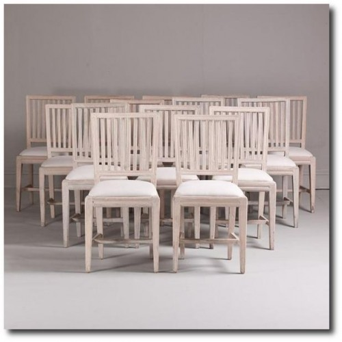 A Set of Fourteen Swedish Gustavian Dining Chairs circa 1780