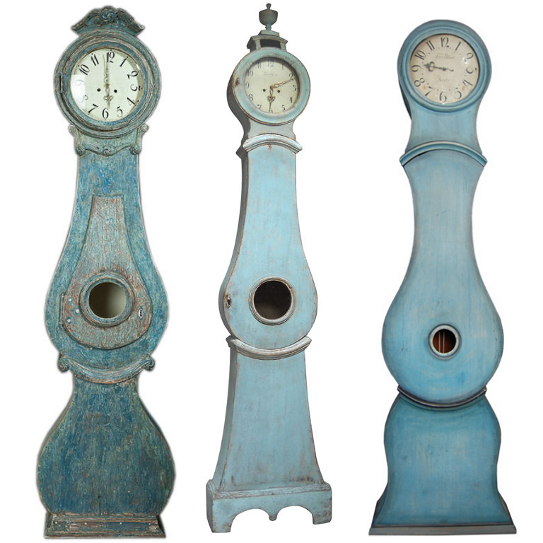 Blue Painted Mora Clocks