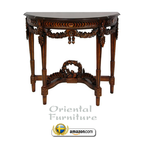 European Antique Design Furnishings Queen Anne Half Round Style Console Table Swedish Furniture:18th Century Swedish Decorating