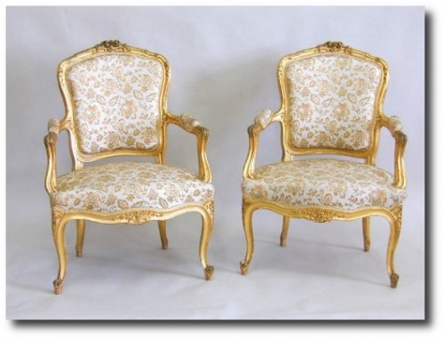 Louis XV Suite 19th Century Rococo Settee and 4 Armchairs Gilded Ranavalona