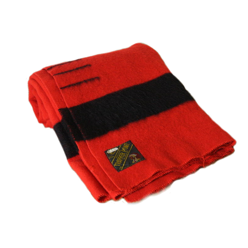 Red Hudsons Bay 3 Point Black Wool Trade Blanket