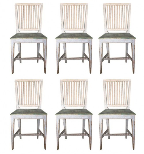 Set of six, 18th Century style, Gustavian chairs.