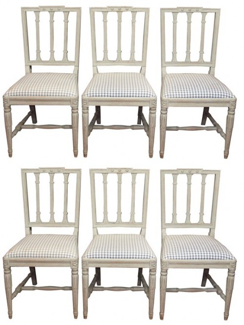 Set of six painted Gustavian Style dining chairs