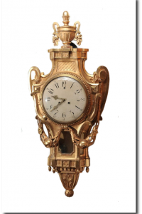 Signed Antique Swedish Gilt Carved Wood Cartel Wall Clock Neoclassical 1913 From North West SPB on ebay