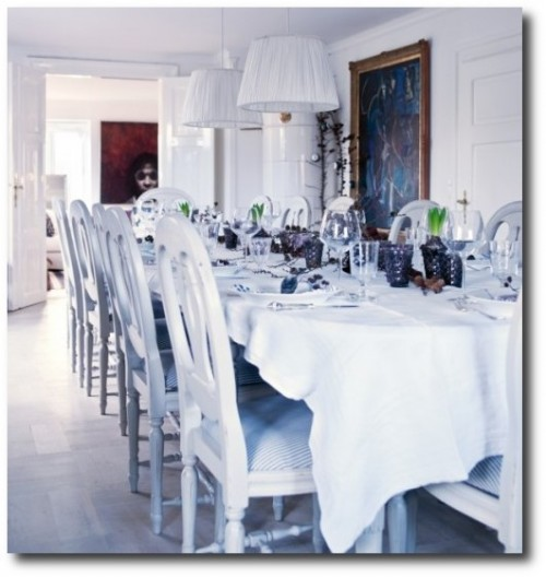 Swedish-Dining-Table-From-The-Right-Bank-Blog White Painted Furniture, Gustavian Furniture, Swedish Furniture, Updating Furniture, Swedish Decorating Ideas