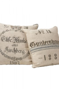 Old World Grain Sack Natual Stenciled Pillows From Dan Marty Designs