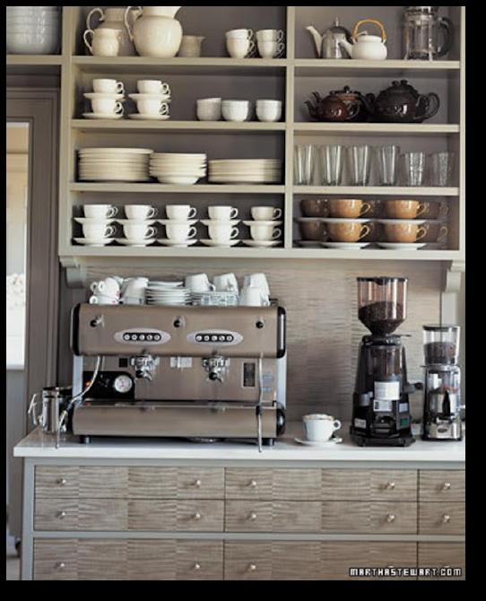 Martha Stewart Paint Ideas Kitchen: Martha Stewart's Grey Kitchen Showing Off Her Espresso Maker