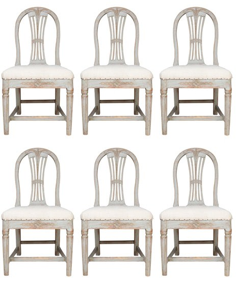A matched set of 10 staight back painted Gustavian Dining Chairs with Sheaf