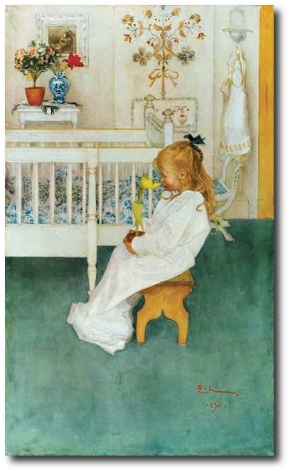 Carl Larrsson Swedish Realist Painter, 1853-1919 Lisbeth with Yellow Tulip