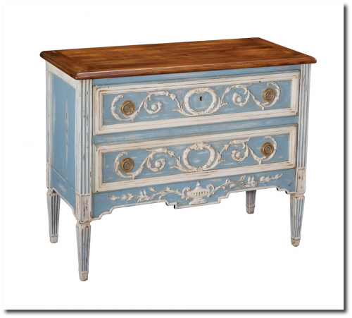 Reproduction Furniture. French Style Walnut Oak Antique Blue Chest Dresser - Reproduction Furniture
