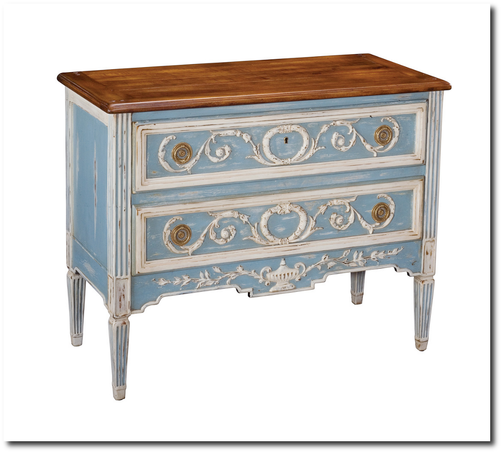 Antique French Reproduction Furniture #23: Reproduction Furniture. French Style Walnut Oak Antique Blue Chest Dresser