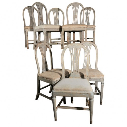 Eight Gustavian Dining Chairs
