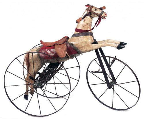 French Carved Wooden Horse on Cast Iron Tricycle Seen at Theriaults