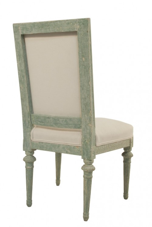 Four Gustavian Side Chairs in a worn pale green patina- Lief