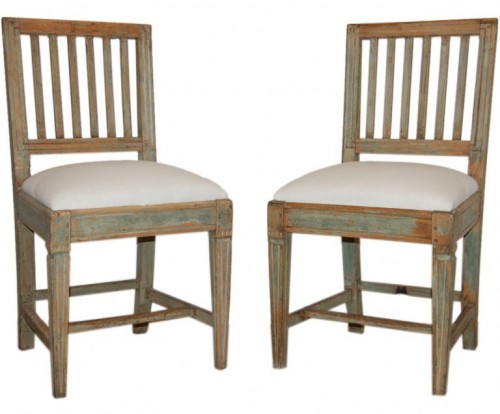 Pair of Antique Swedish Country Gustavian Side Chairs