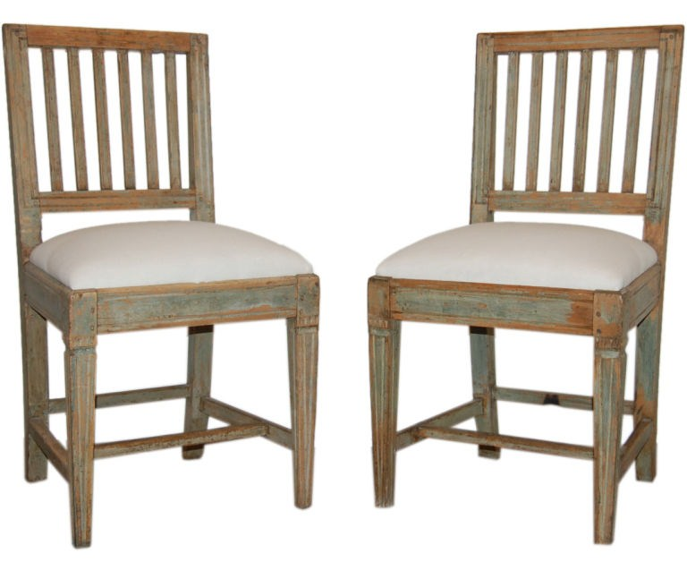 - Pair Of Antique Swedish Country Gustavian Side Chairs