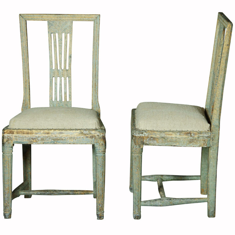 pair of gustavian chairs in original paint lorfords