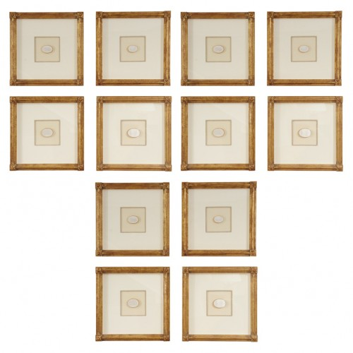 A collection of 12 Giltwood Musuem Quality Framed Intaglios